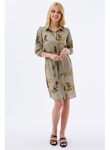Pattaya Pattaya Kadın Kuşaklı Saten Gömlek Elbise Y20S110-1945 Haki